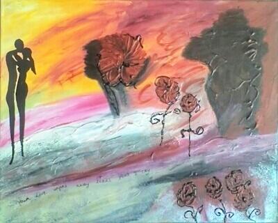 Peinture abstraite avec des fleurs