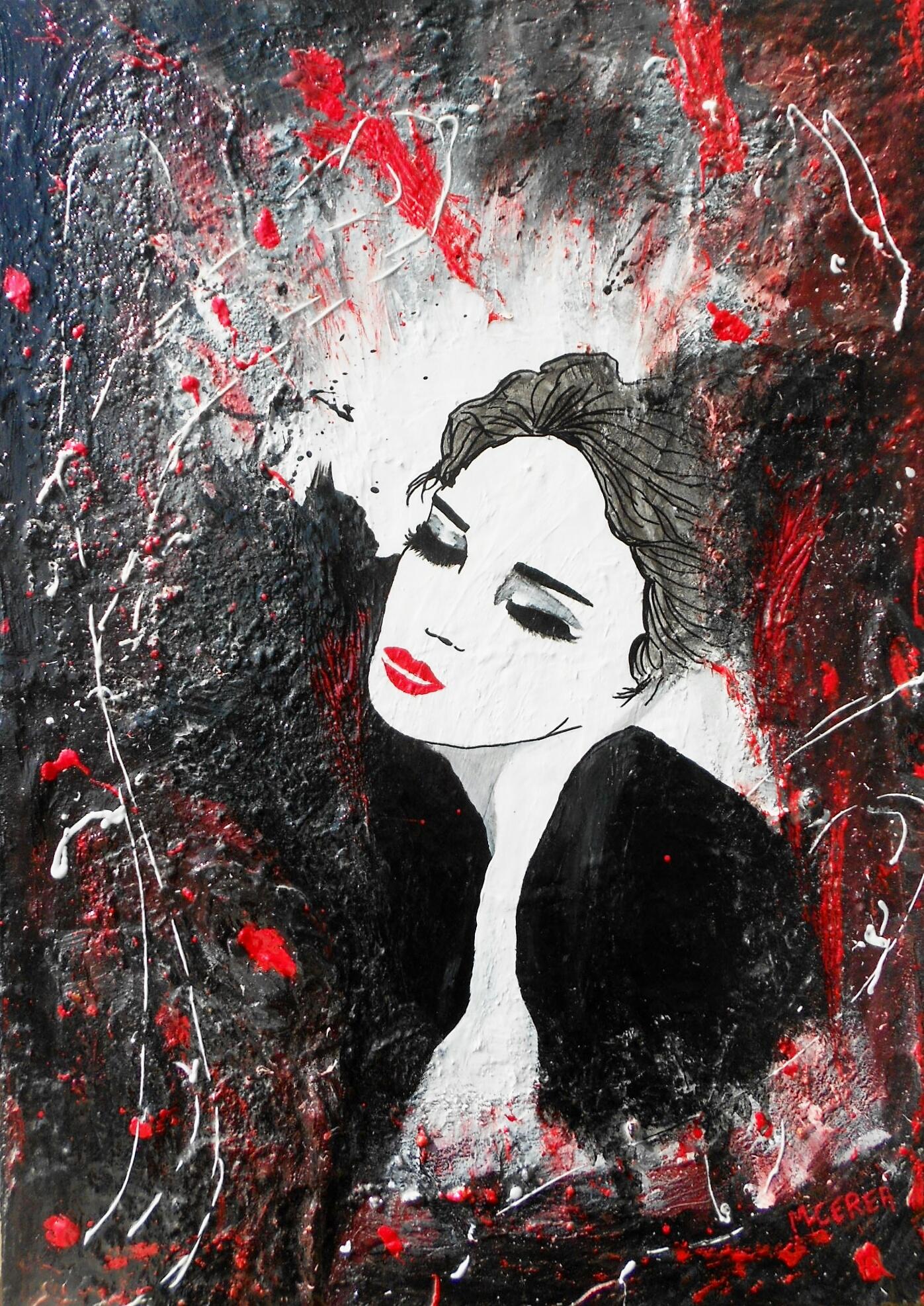 Portrait de femme en rouge et noir
