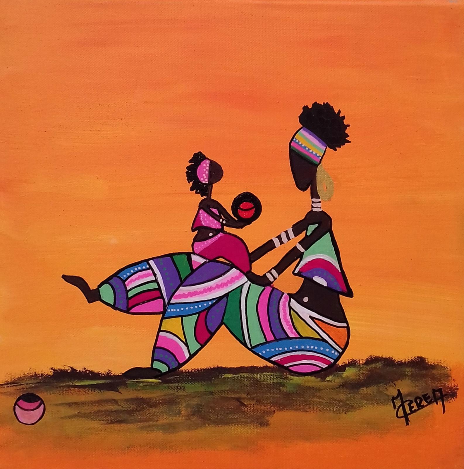 Peinture Femme Africaine de profil rose