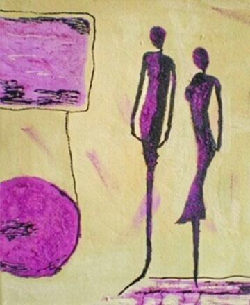 Peinture abstraite couple rose et noir