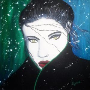 Portrait de femme dans la tempête