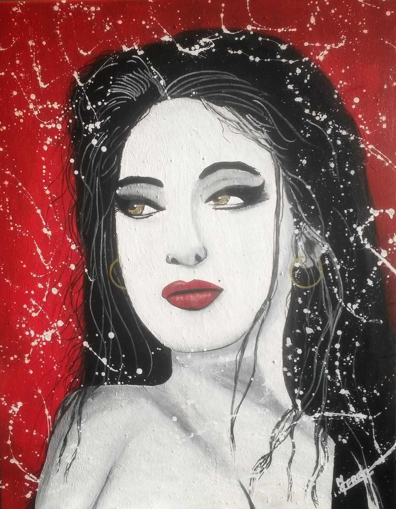 Portrait de femme fond rouge