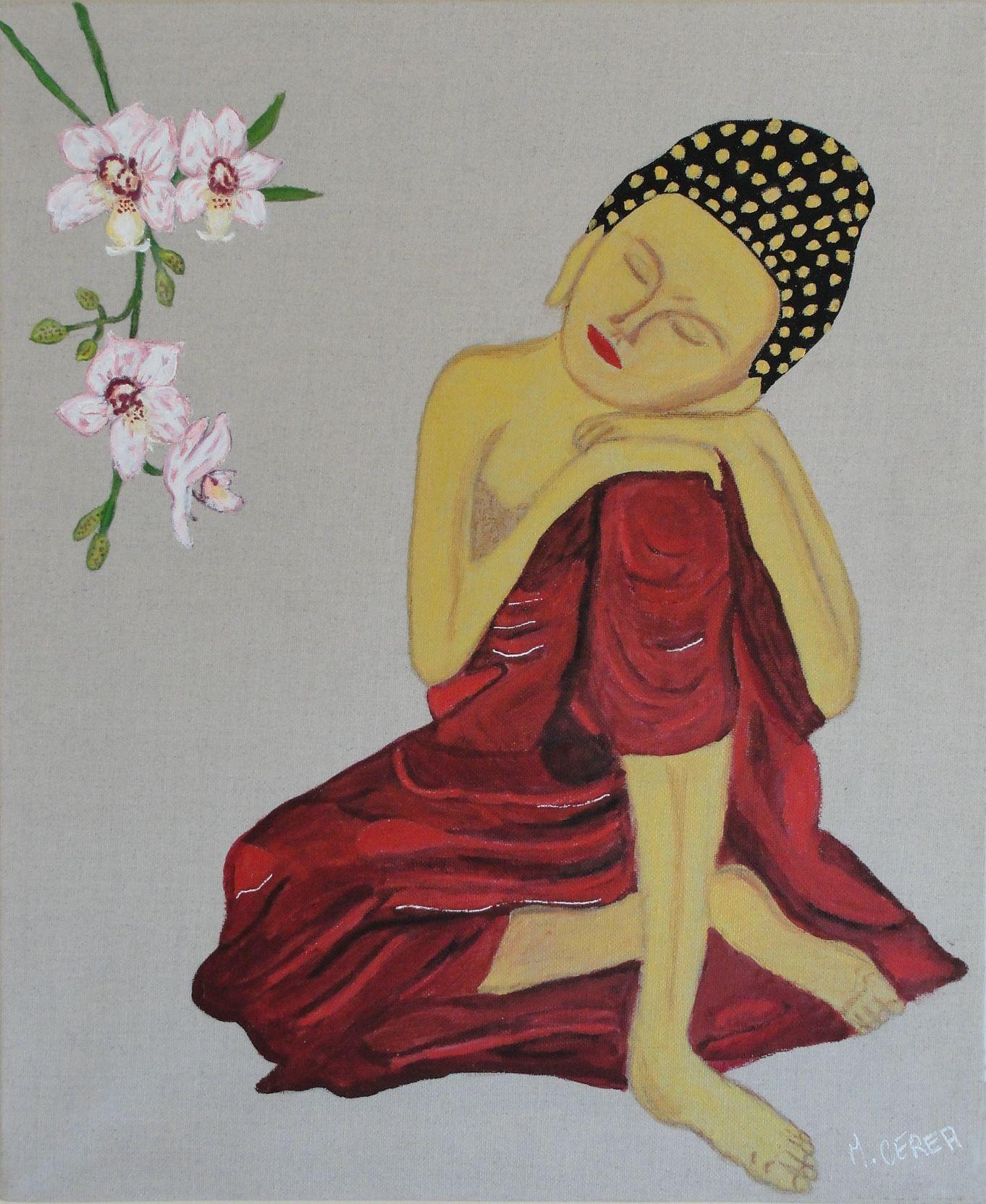 Peinture de bonze en méditation