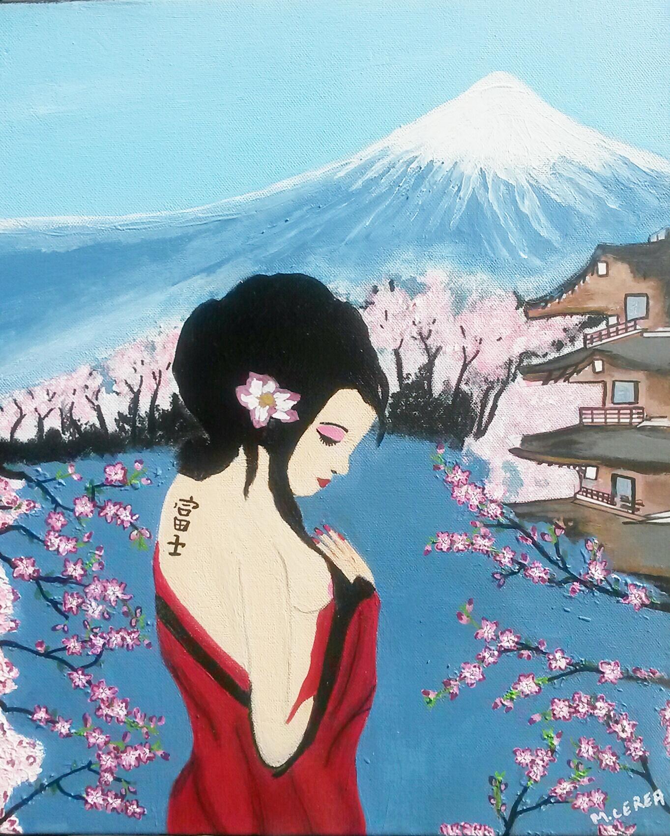 Portrait de femme japonaise devant le mont fuji