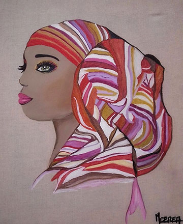 Femme Africaine voile coloré