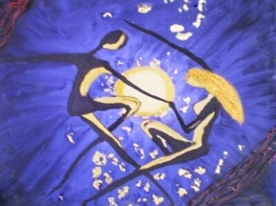 Peinture homme et femme dansant