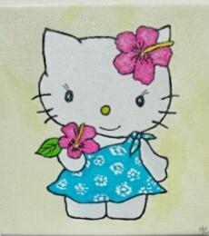 Peinture Hello Kitty à Hawai