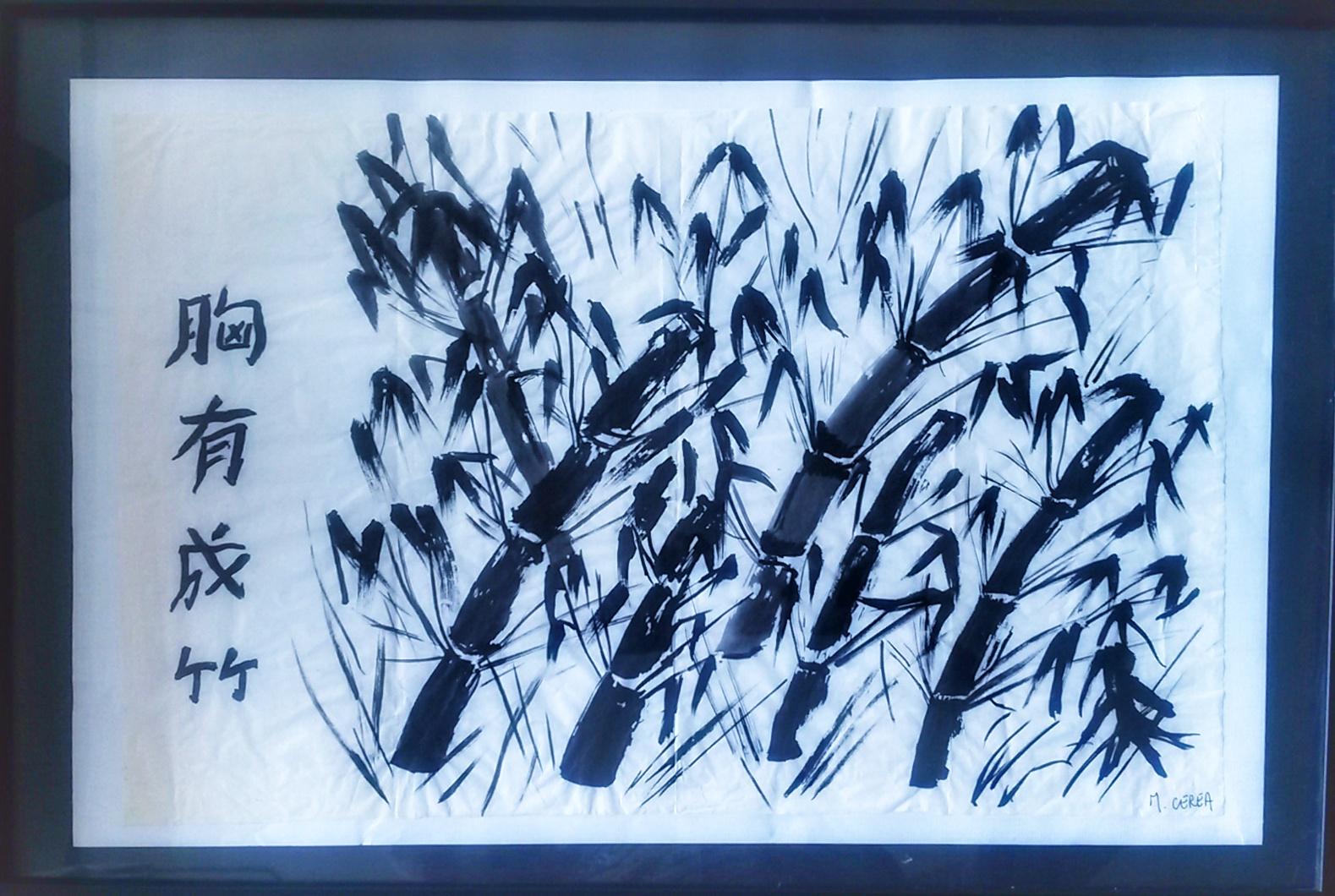 Peinture calligraphie de bamboux bleue