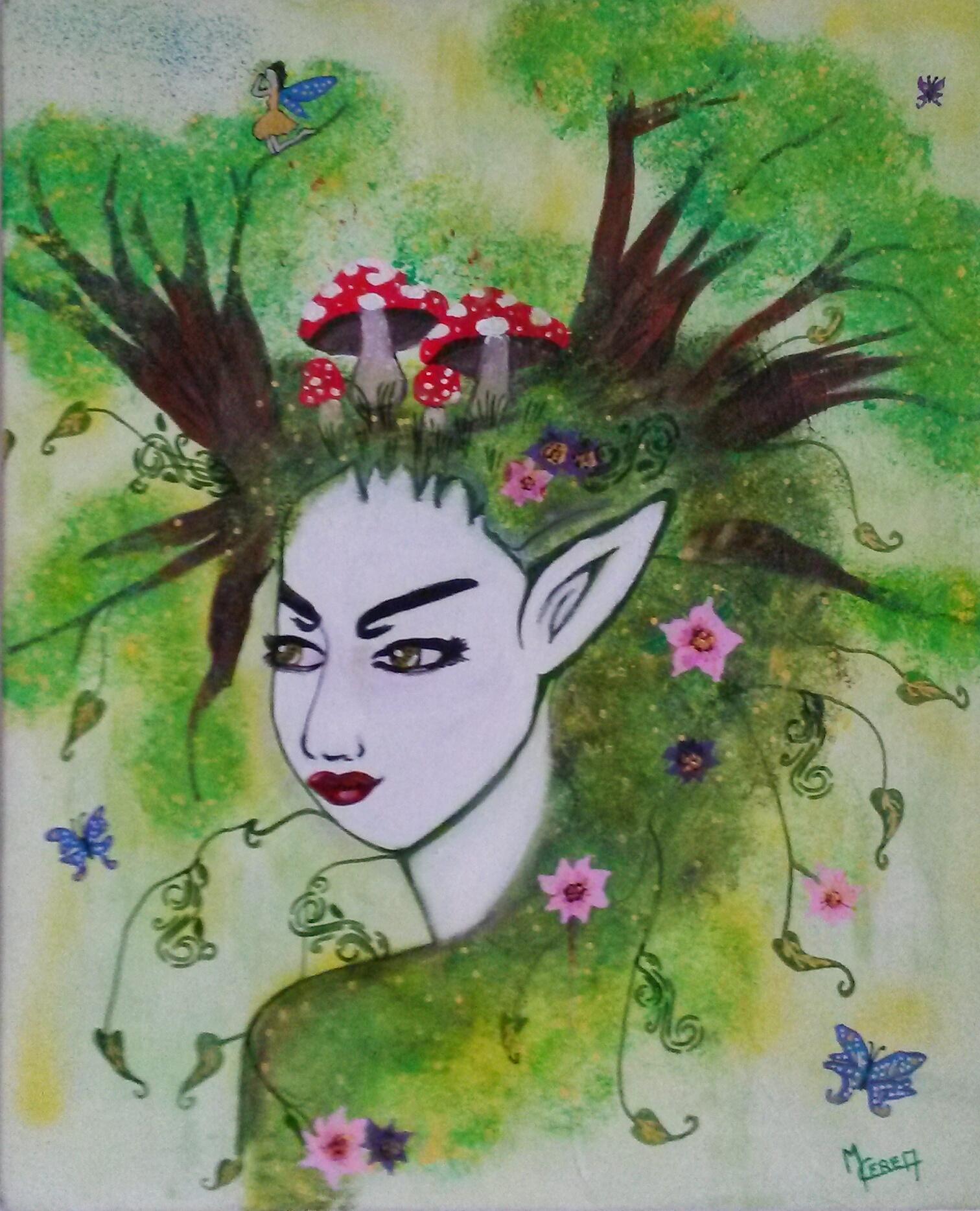 Peinture d'elfe de la forêt