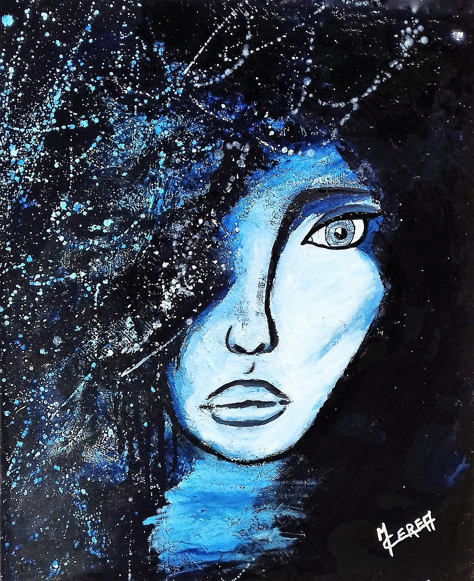 Portrait de femme bleu