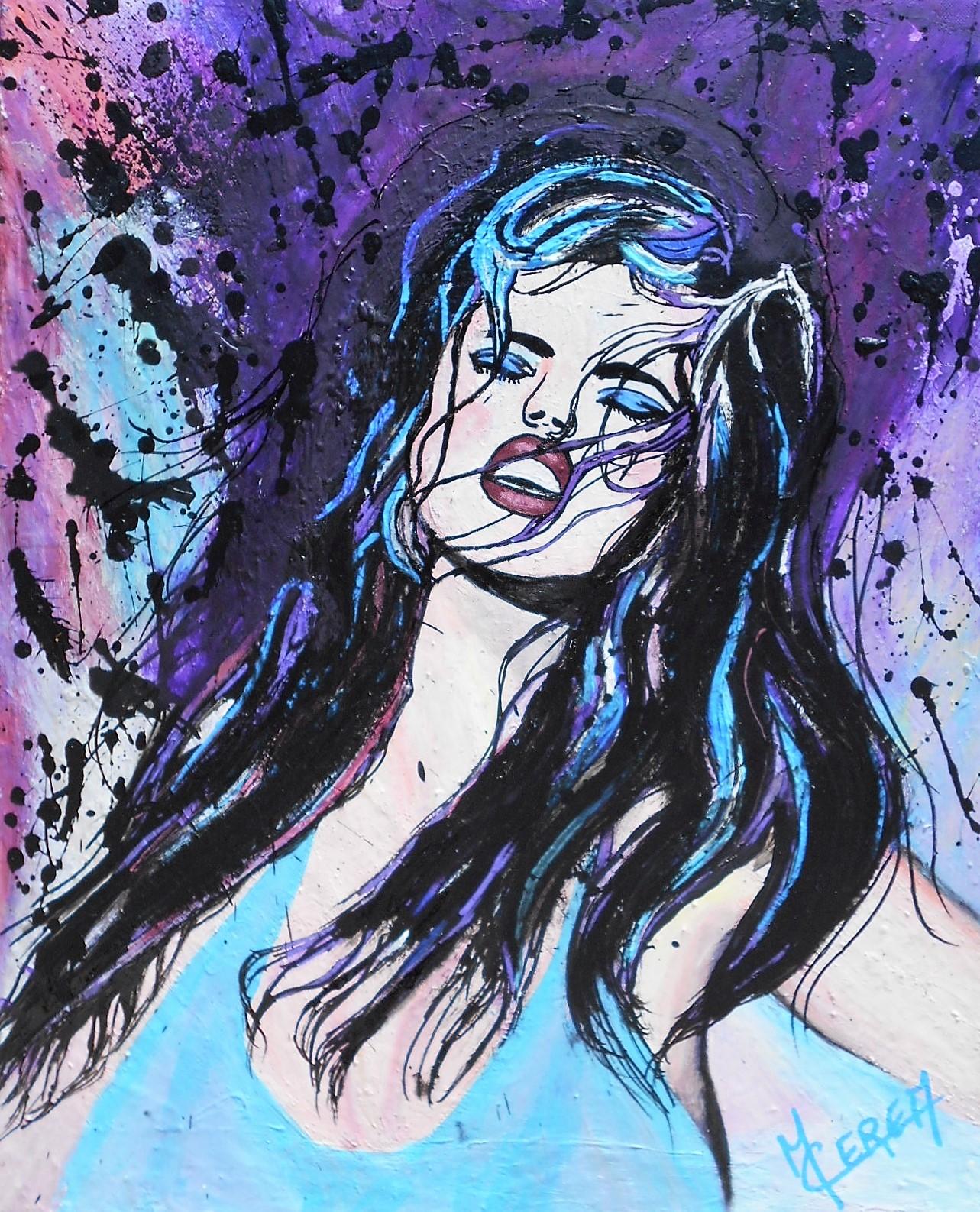 Portrait de femme bleu et violet