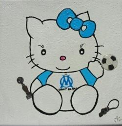 Peinture Hello Kitty supportrice de l'Om