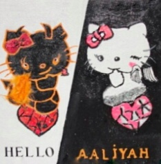 Peinture enfant Hello Kitty ange ou demon