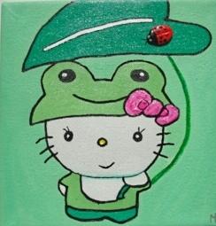 Peinture enfant Hello Kitty en grenouille