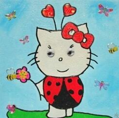 Peinture enfant Hello Kitty coccinnelle