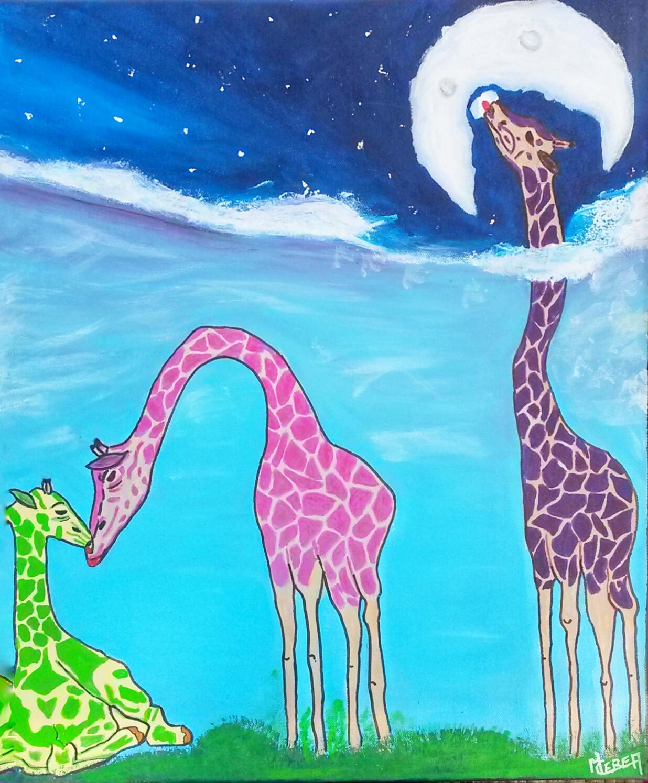 Peinture de familles de girafes