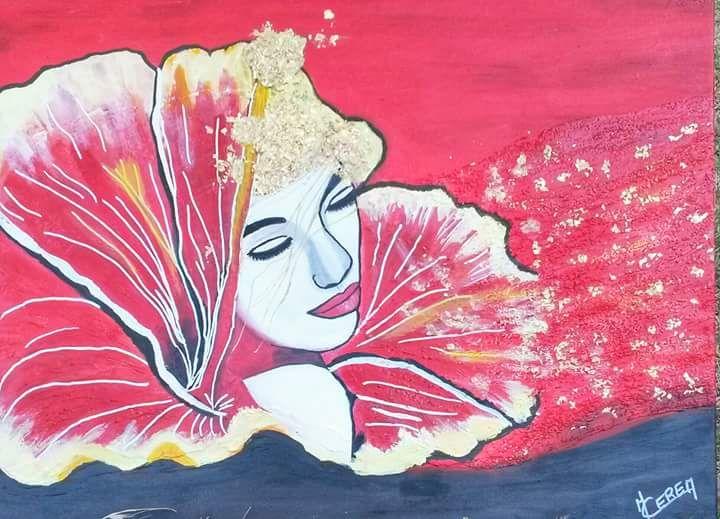 Portrait de femme fleur