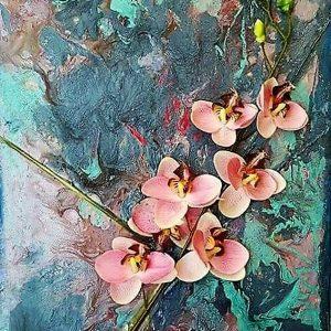 Peinture d'orchidées roses