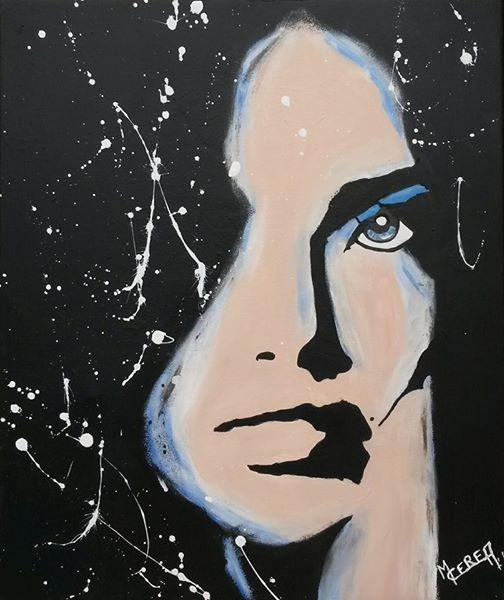 Portrait de femme bleu et noir Mireille Cerea