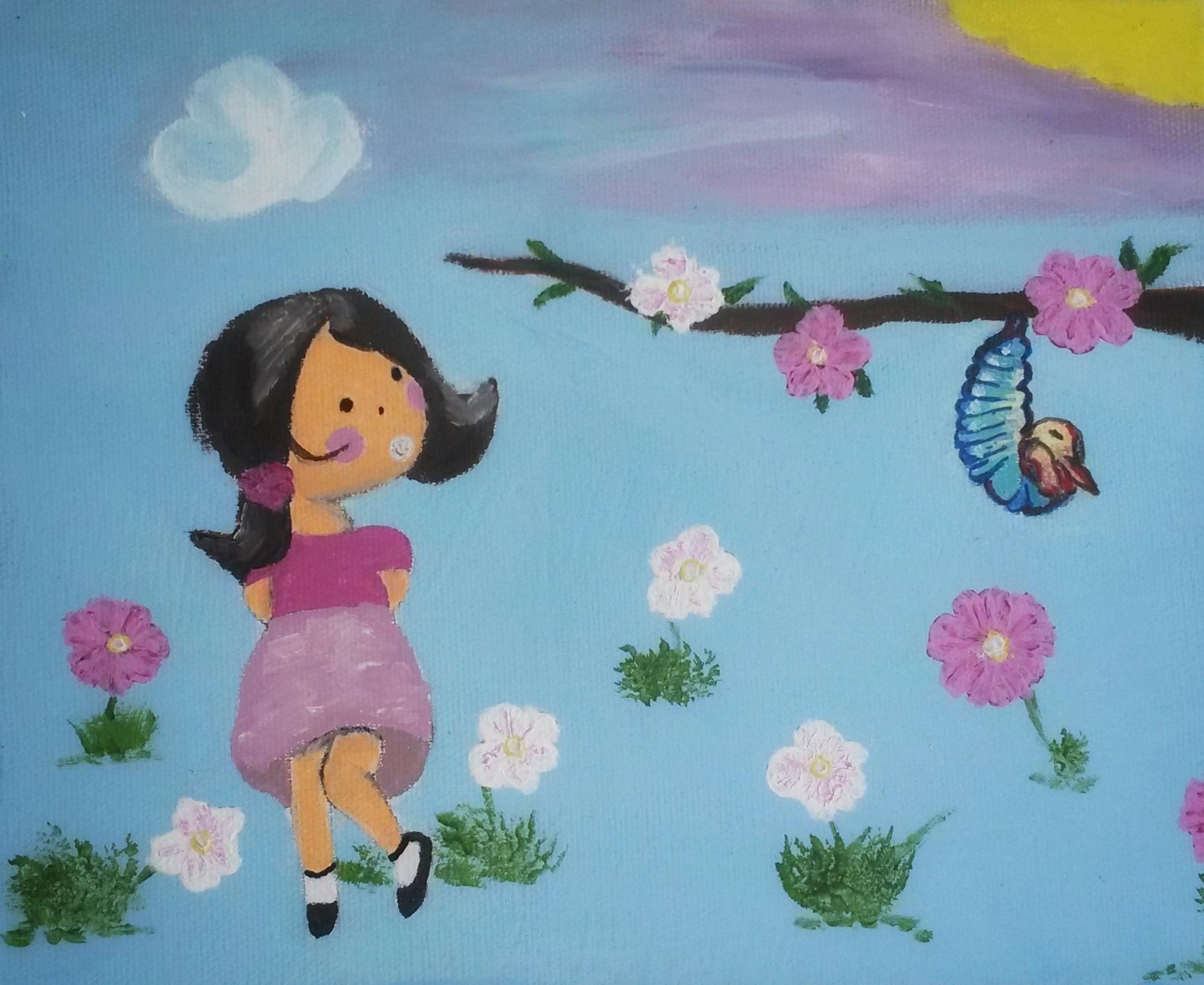 Enfant et fleurs