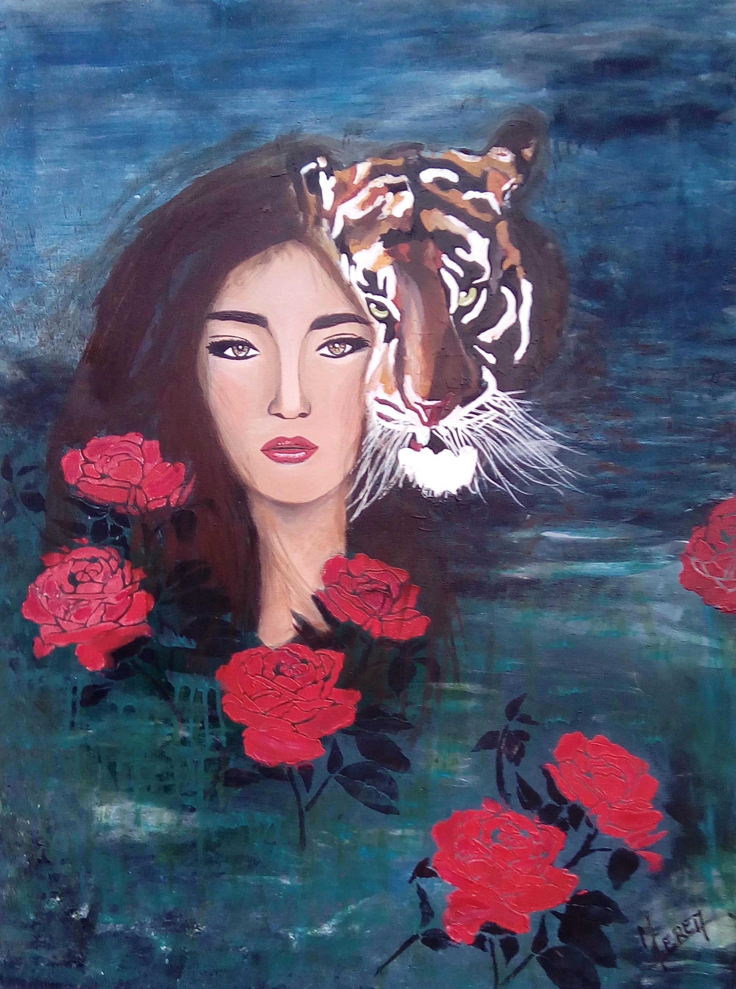 tableau femme tigre Mireille Cerea