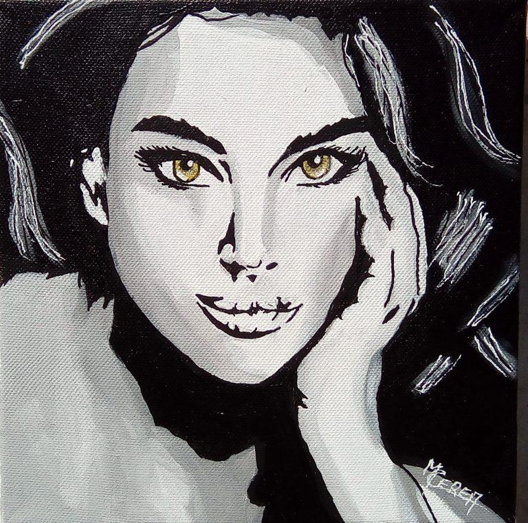 Peinture de Mireille Cerea portrait de femme noir et blanc