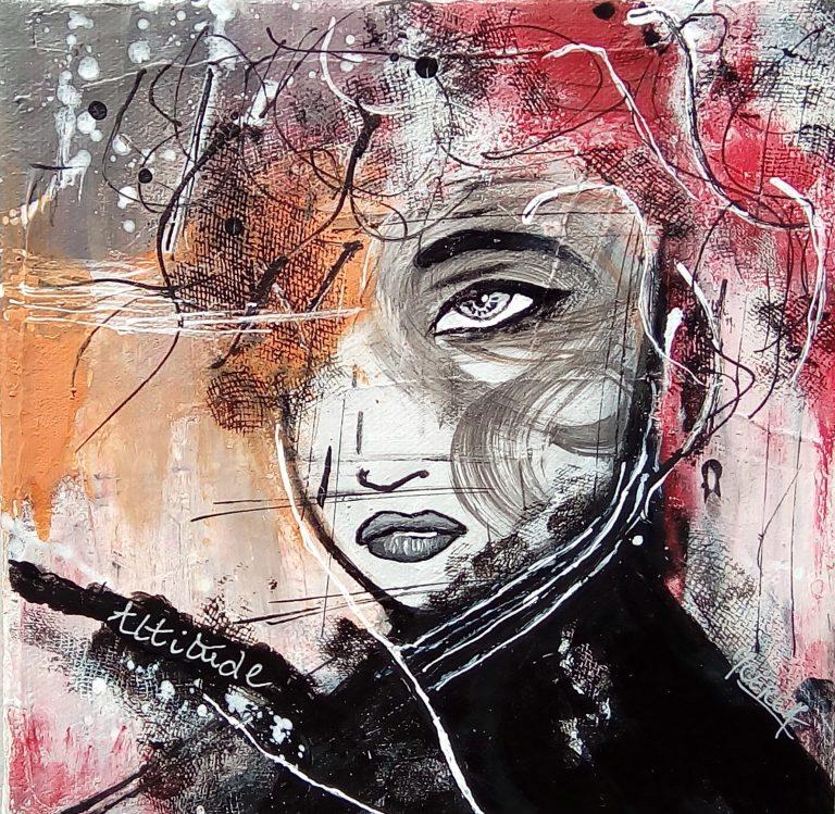 Portrait peinture par Mireille Cerea femme rouge orange et noir