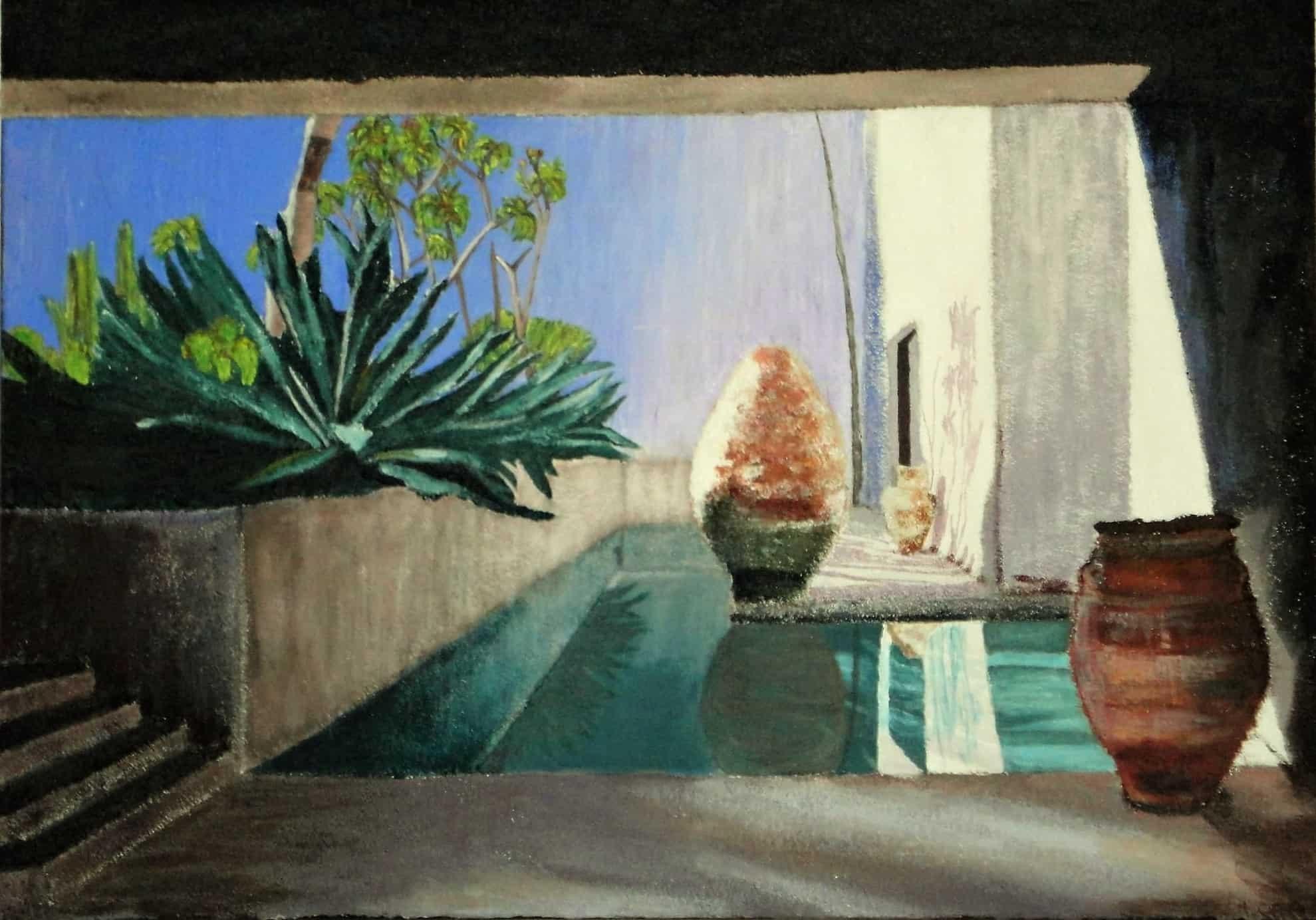 patio intérieur avec piscine et palmier