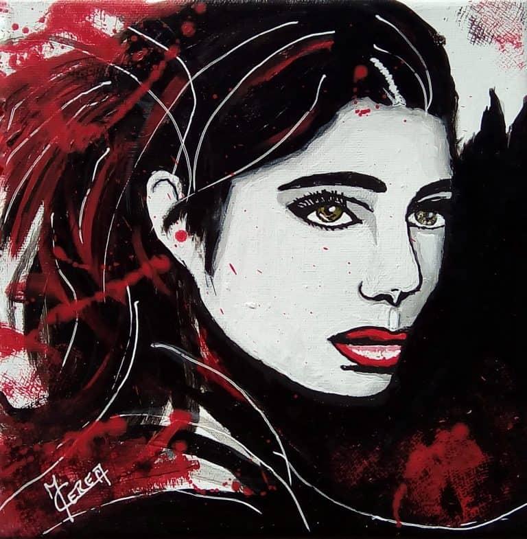 Peinture par Mireille Cerea portrait de femme noir et rouge