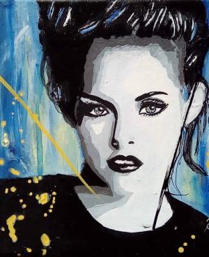 Peinture par Mireille Cerea portrait de femme noir et bleu